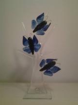 Blå sommerfugle glaskunst.
