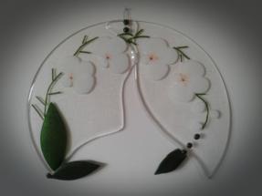 Glasbillede med hvid orkidé