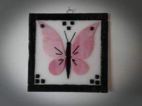Billede i glas med sommerfugl