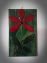 Billede i glas med rød blomst